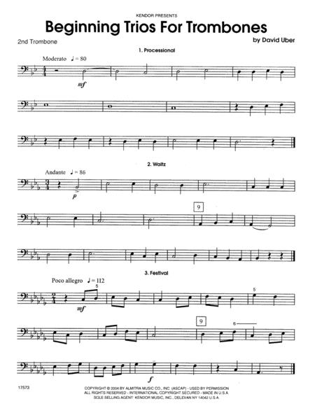 Beginning Trios For Trombones - 2nd Trombone