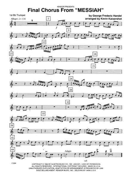 Final Chorus From 'Messiah' (Blessing And Honour,Glory And Power Unto Him) - 1st Bb Trumpet
