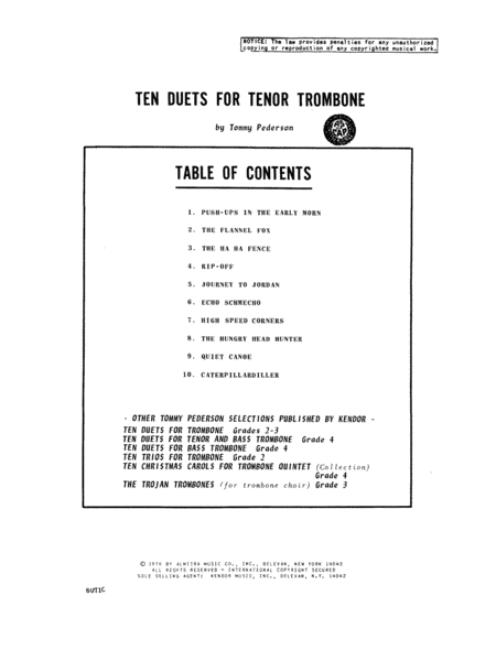 Ten Duets For Tenor Trombone