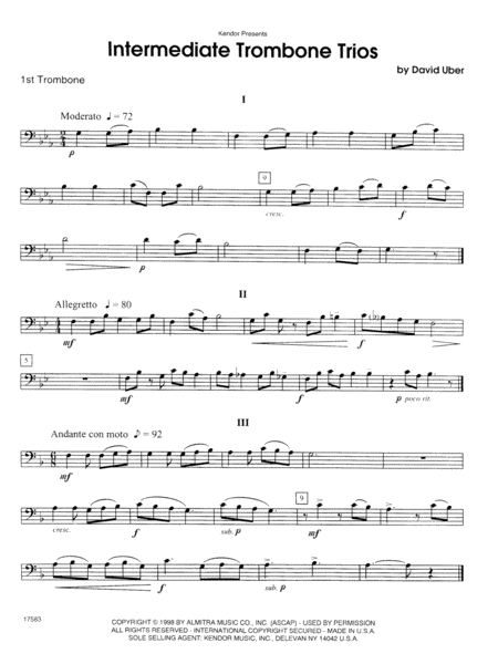 Intermediate Trombone Trios - 1st Trombone
