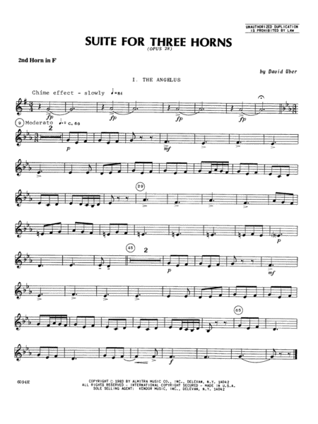 Suite For Three Horns (Opus 28) - 2nd Horn in F