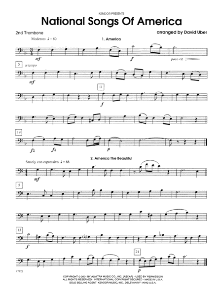National Songs Of America - 2nd Trombone