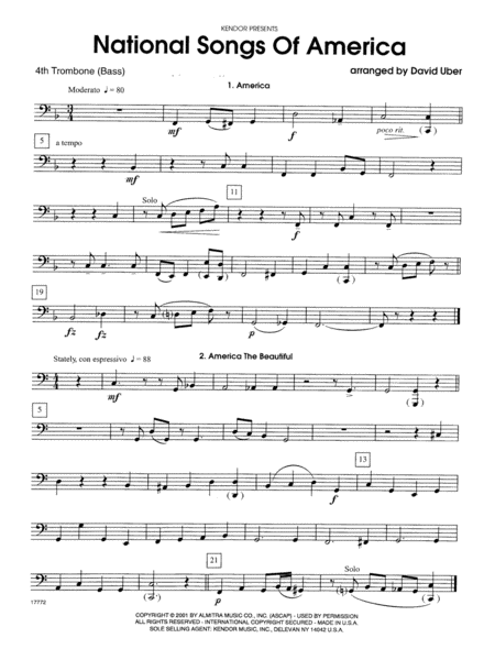 National Songs Of America - 4th Trombone