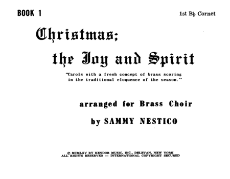 Christmas; The Joy & Spirit - Book 1/1st Cornet