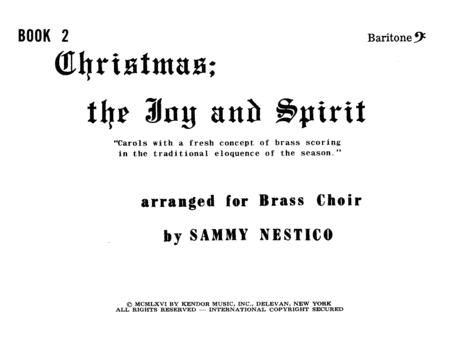 Christmas; The Joy & Spirit - Book 2/Baritone BC