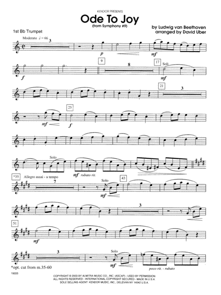 Ode To Joy (From Symphony #9) - 1st Bb Trumpet