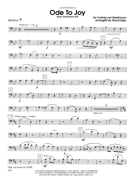 Ode To Joy (From Symphony #9) - Baritone B.C.