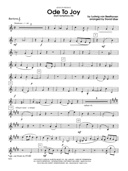 Ode To Joy (From Symphony #9) - Baritone T.C.
