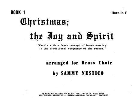 Christmas; The Joy & Spirit- Book 1/Horn In F