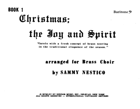 Christmas; The Joy & Spirit - Book 1/Baritone BC