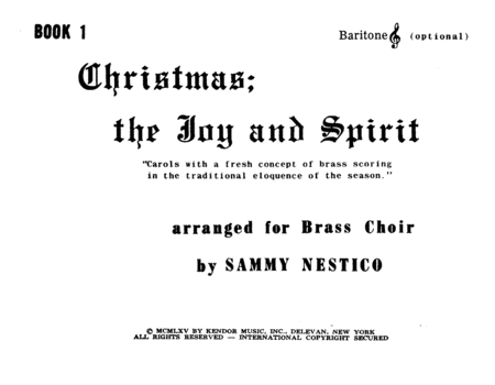 Christmas; The Joy & Spirit - Book 1/Baritone TC (opt.)