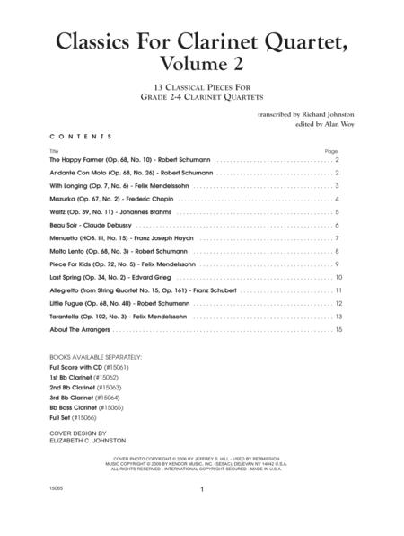 Classics For Clarinet Quartet, Volume 2 - Bb Bass Clarinet