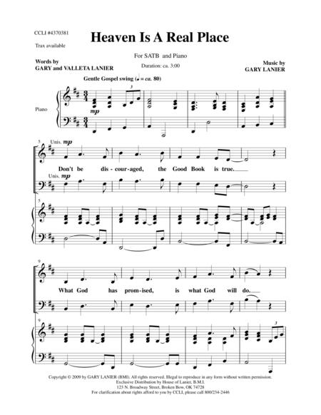 HEAVEN IS A REAL PLACE for SATB Choir (Score - Choir/Piano with Choir Part)