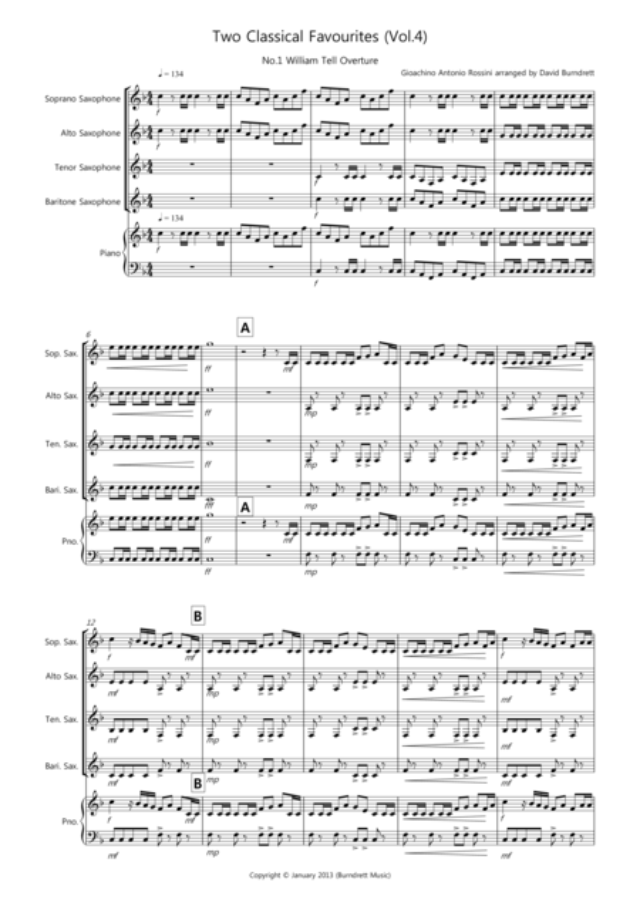 2 Classical Favourites for Saxophone Quartet (volume four)