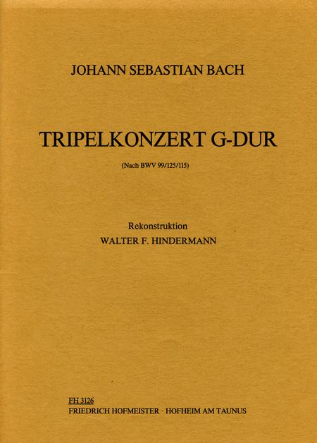 Tripelkonzert G-Dur (nach BWV 99/125 /115) fur Flote, Oboe d'amore, Violine solo, Streicher und B.c. / Partitur