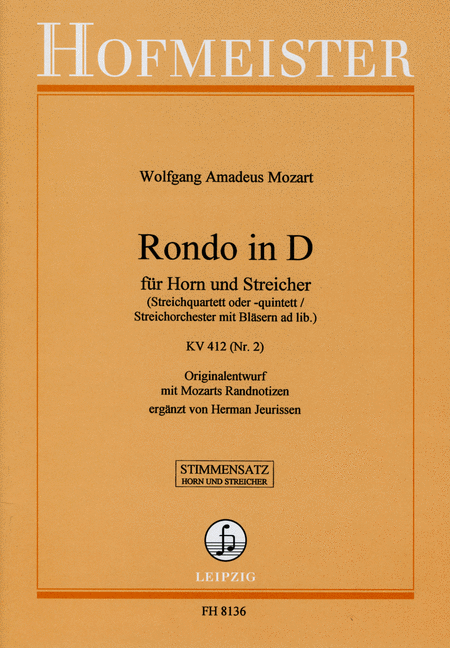 Rondo in D fur Horn und Streicher, KV 412 (Nr. 2) / Stimmen