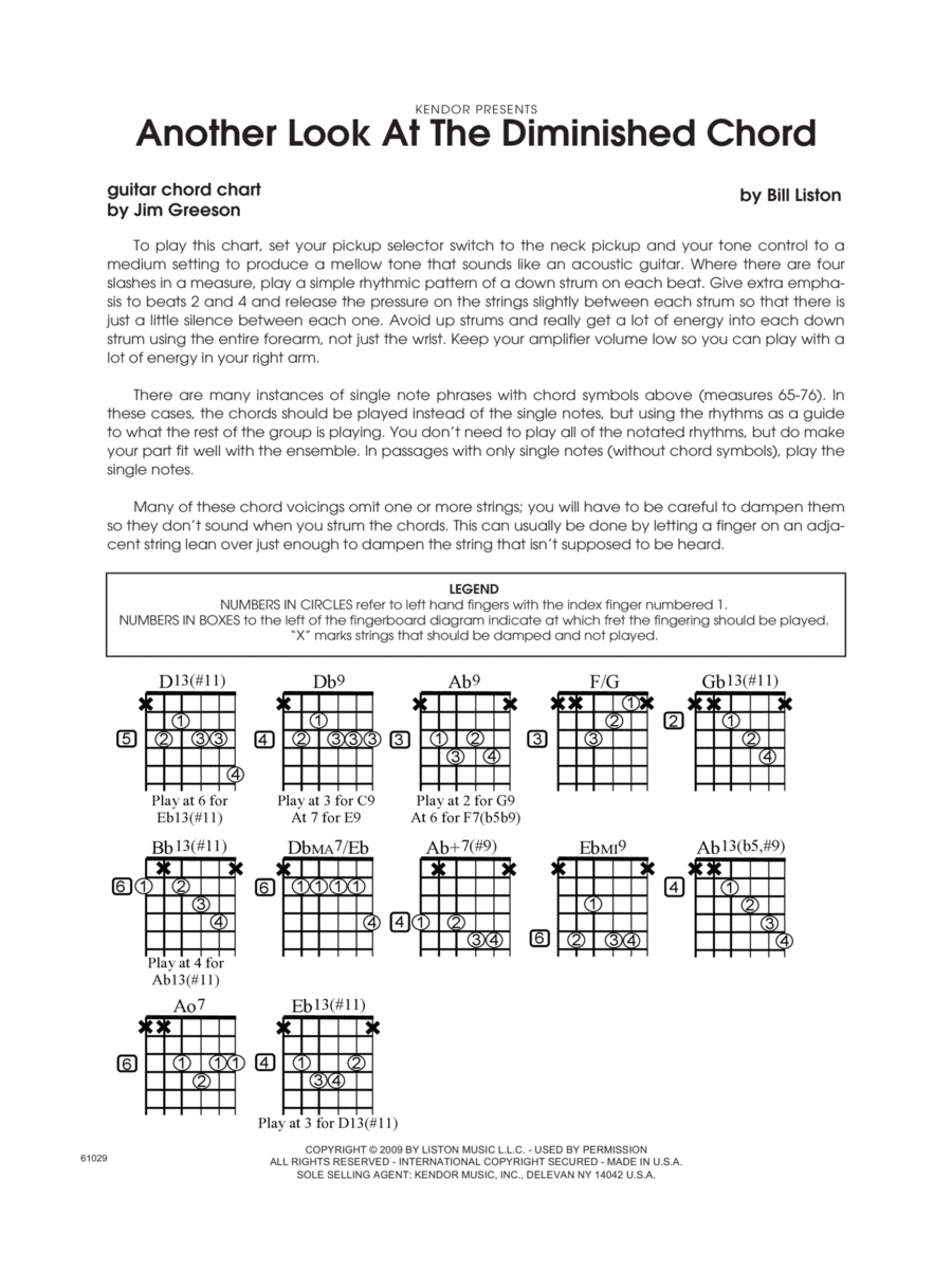 Another Look At The Diminished Chord - Guitar Chord Chart