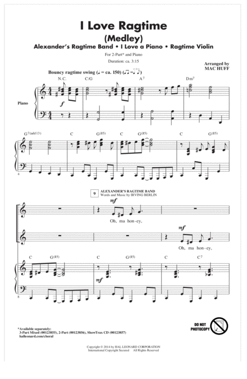 I Love Ragtime (Medley)