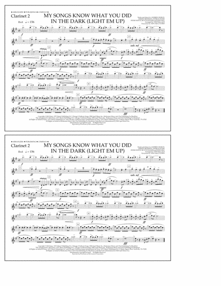 My Songs Know What You Did in the Dark (Light 'Em Up) - Clarinet 2