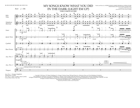 My Songs Know What You Did in the Dark (Light 'Em Up) - Percussion Score