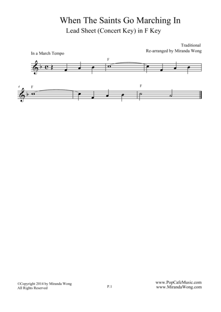 When The Saints Go Marching in - Lead Sheet in F Key (Concert Key)