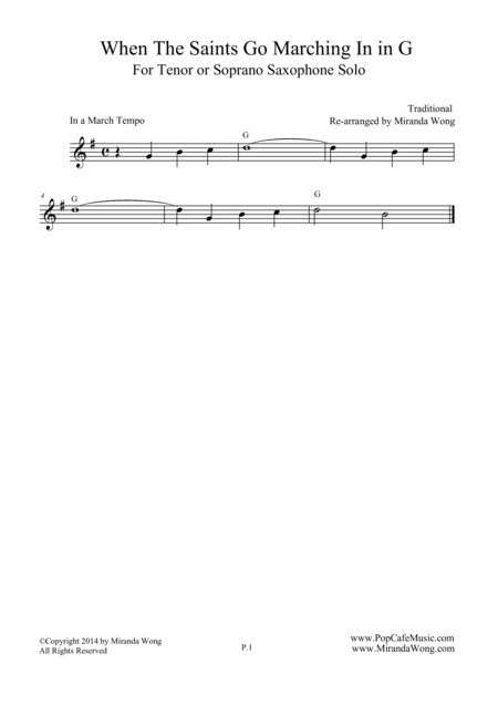 When The Saints Go Marching In  - Tenor or Soprano Saxophone Solo (G Key)