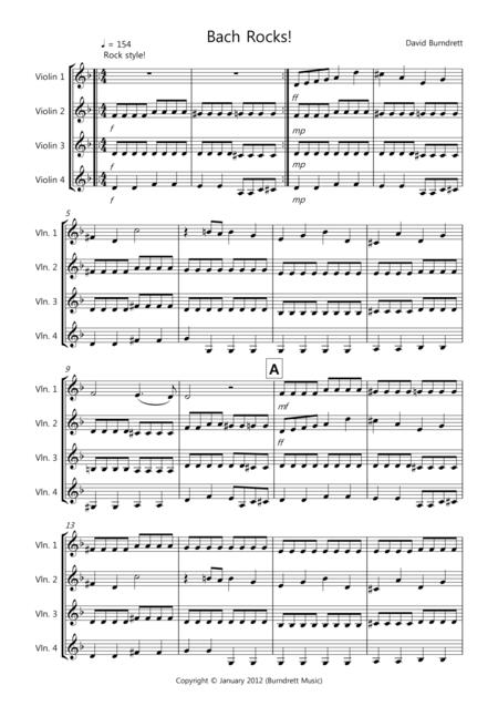 Bach Rocks! for Violin Quartet