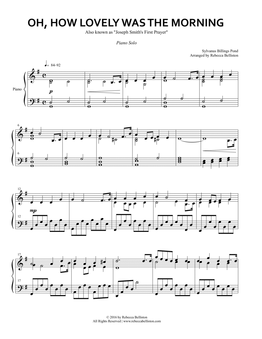 Oh, How Lovely Was the Morning (Piano Solo)
