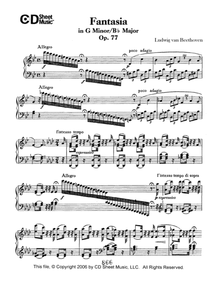 Fantasia In G Minor/b-flat Major, Op. 77