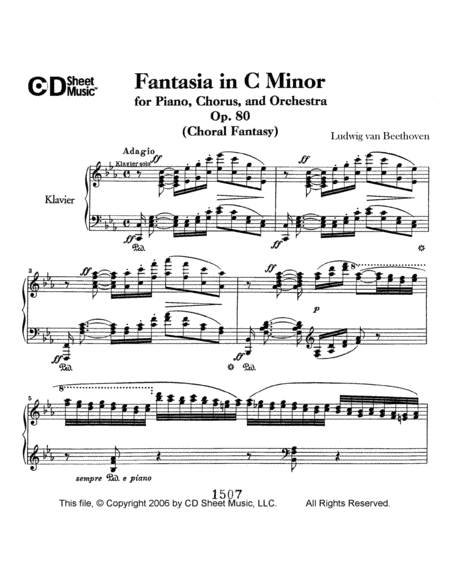 Fantasia In C Minor For Piano, Chorus, And Orchestra (choral Fantasy), Op. 80