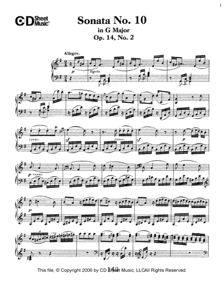 Sonata No. 10 In G Major, Op. 14, No. 2