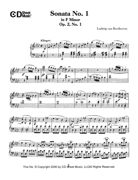 Sonata No. 1 In F Minor, Op. 2, No. 1