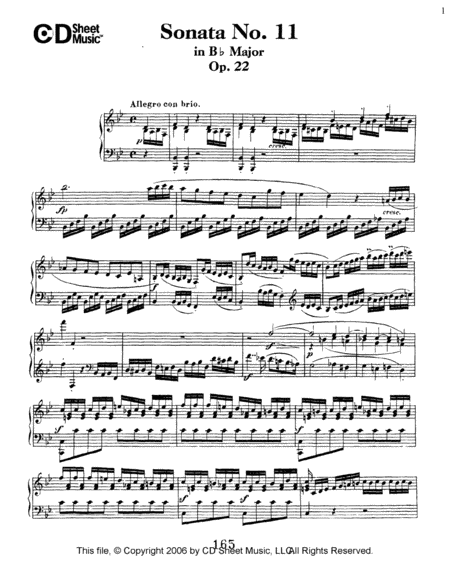 Sonata No. 11 In B-flat Major, Op. 22
