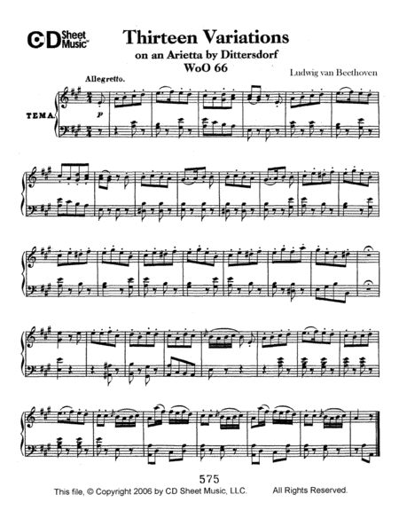 Variations (13) On An Arietta By Dittersdorf, Woo 66