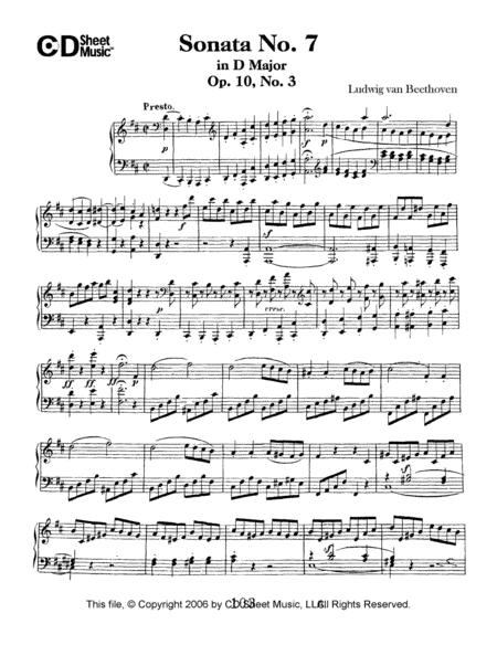 Sonata No. 7 In D Major, Op. 10, No. 3