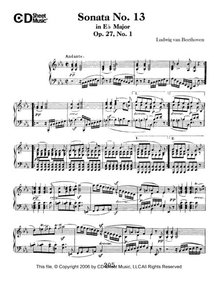 Sonata No. 13 In E-flat Major, Quasi Fantasia, Op. 27, No. 1