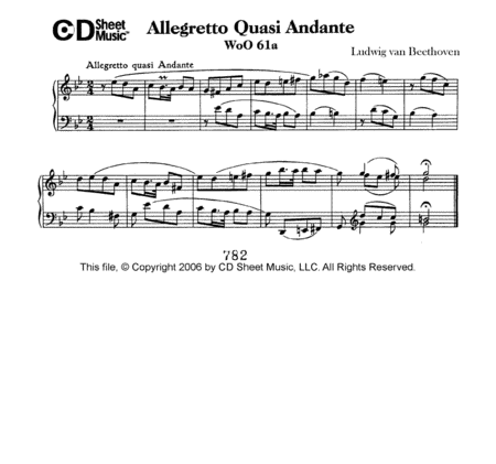 Allegretto Quasi Andante In G Minor, Woo 61a