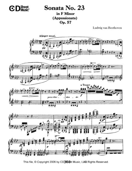 Sonata No. 23 In F Minor (appassionata), Op. 57