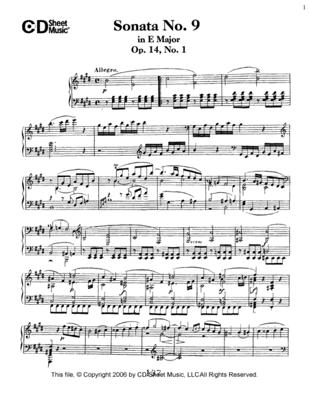 Sonata No. 9 In E Major, Op. 14, No. 1