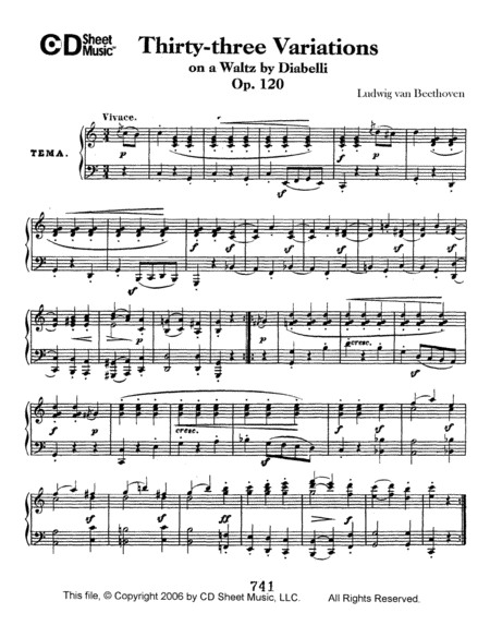 Variations (33) On A Waltz By Diabelli, Op. 120
