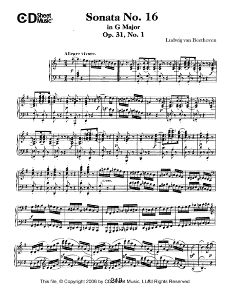 Sonata No. 16 In G Major, Op. 31, No. 1