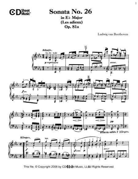 Sonata No. 26 In E-flat Major (les Adieux), Op. 81a