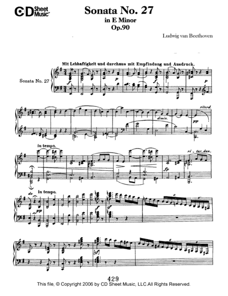 Sonata No. 27 In E Minor, Op. 90