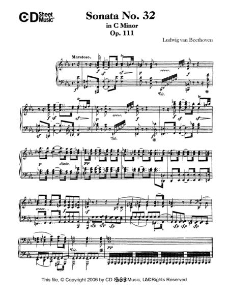 Sonata No. 32 In C Minor, Op. 111