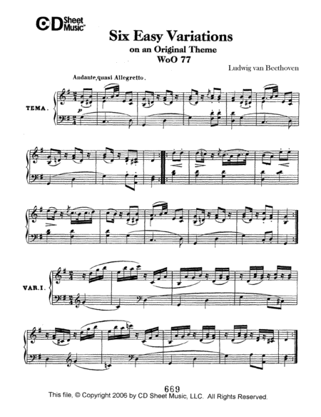 Easy (6) Variations On An Original Theme, Woo 77
