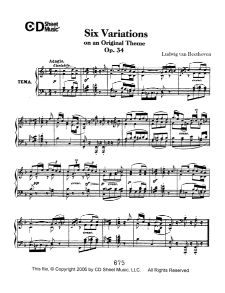 Variations (6) On An Original Theme, Op. 34