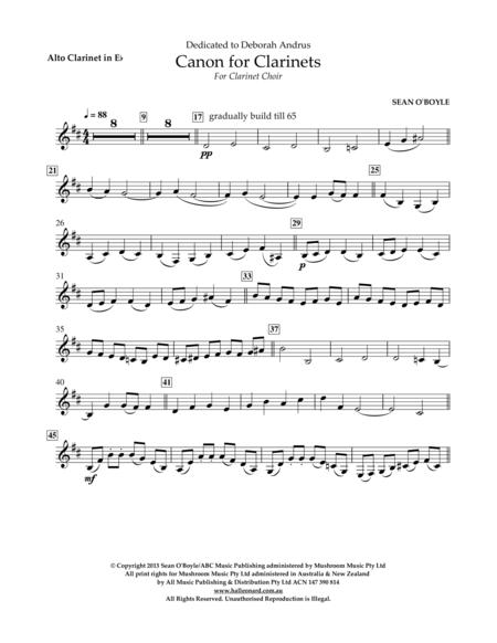 Canon For Clarinets - Eb Alto Clarinet