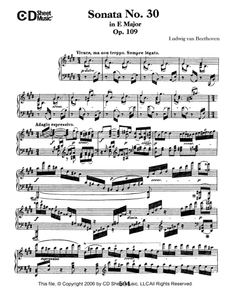 Sonata No. 30 In E Major, Op. 109