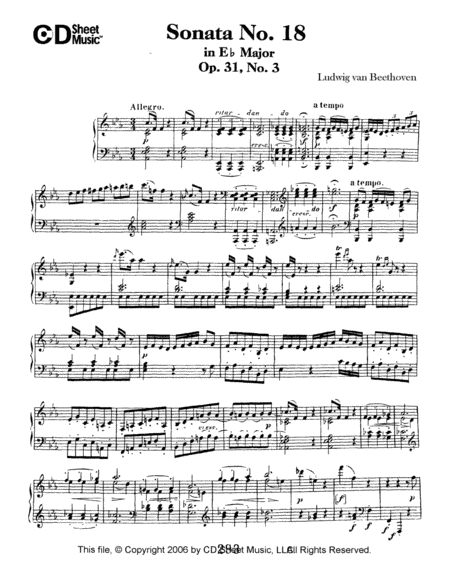 Sonata No. 18 In E-flat Major, Op. 31, No. 3