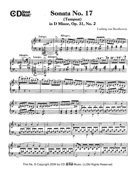 Sonata No. 17 In D Minor (tempest), Op. 31, No. 2